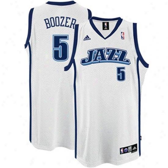 Utah Jazz Jersey : Adidas Utah Jazz #5 Carlos Boozer White Swingman Basketball Jersey