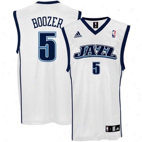 Utah Jazz Jersey : Adidas Utah Jazz #5 Carlos Boozer White Replica Basoetball Jeresy