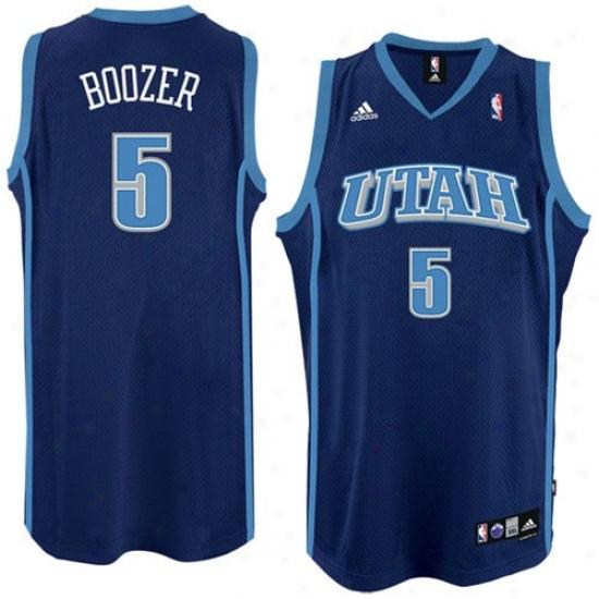 Utah Jazz Jersey : Adidas Utah Jazz #5 Carlos Boozer Navy Blue Road Swingman Basketball Jersey