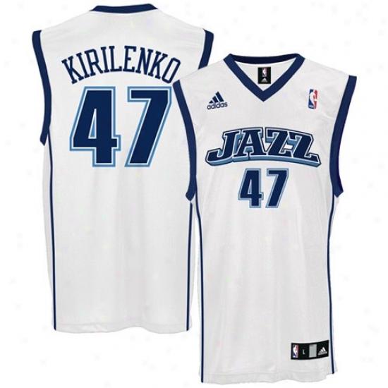 Utah Jazz Jerseys : Adidas Utah Jazz #47 Andrei Kirolenko White Replica Basketball Jerseys