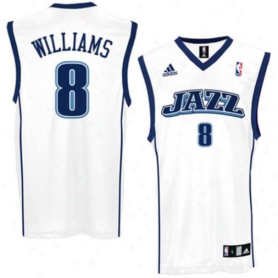 Utah Jazz Jerseys : Adidas Utah Jazz #8 Deron Wioliams White Replica Basketball Jerseys