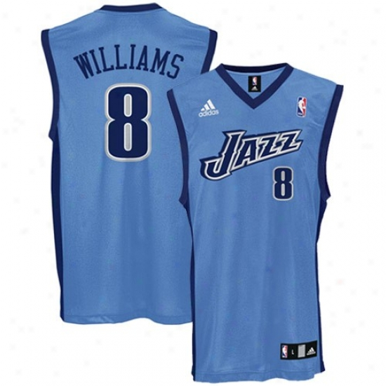 Utah Jazz Jerseys : Adidas Utah Jazz #8 Deron Williams Light Blue Replica Basketball Jerseys