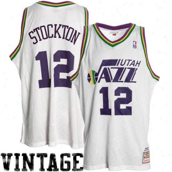 Utah Jazz Jerseys : Mitchell & Ness Utah Jazz #12 John Stockton White 1978 Throwback Premium Jerseys
