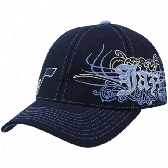 Utah Jazz Merchandise: Adidas Utah Jzaz Ships Blue Flourish Bursr Flex Fit Hat