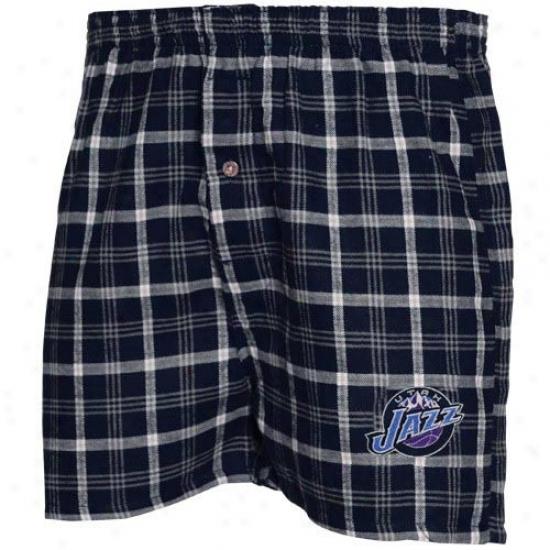 Utah Jazz Navy Blue Plaid Tailgate Boxer Shorts