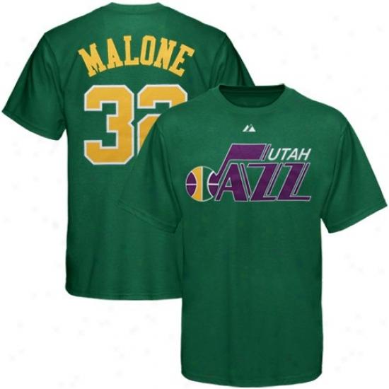 Utah Jazz Shirt : Majestic Utah Jazz #32 Karl Malone Flourishing Retired Player Throwback Shirt
