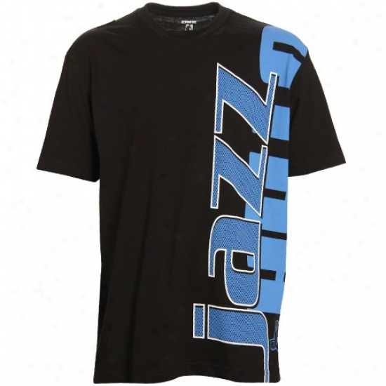 Utah Jazz Shirt : Utah Jazz Black Sideways Shirt