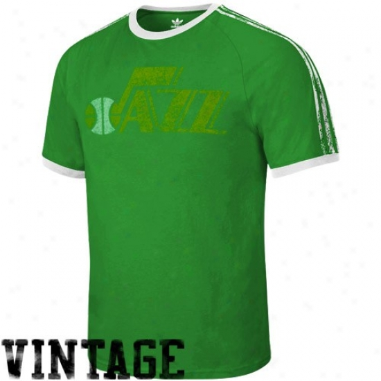 Utah Jazz Shirts : Adiads  New Orleans Jazz Green Distressed Throwback Logo Ringer Shirts