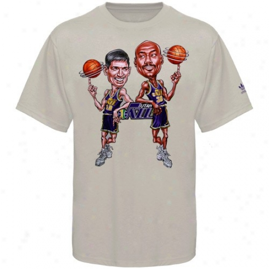 Utah Jazz Shirts : Adidas Utah Jazz #12 John Stockton/ #32 Karl Malone Gray Caricature Shirts