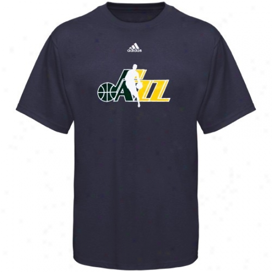 Utah Jazz Shirts : Adidas Utah Jazz Navy Pedantic  2010 Draft Dribbler Shirts