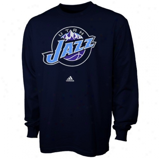 Utah Jazz Shirts : Adidas Utah Jazz Youth Navy Blue Full Primary Logo Shirts