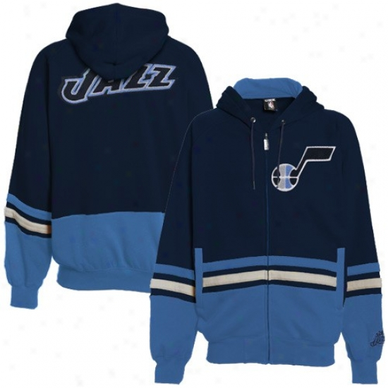 Utah Jazz Sweatshirt : Utah Jazz Navy Blue-light Blue Chaunce Full Zip Sweatshirt