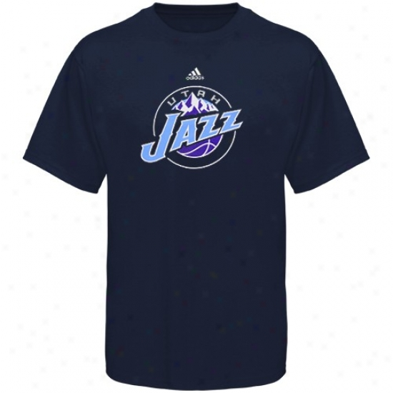 Utah Jazz T Shirt : Adidas Utah Jazz Youtu Navy Blue Primary Logo T Shirt