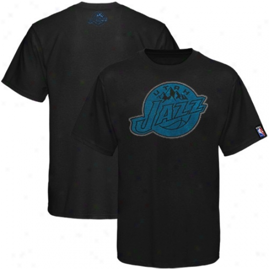 Utah Jazz T Shirt : Utah Jazz Black Raised Foil T Shirt
