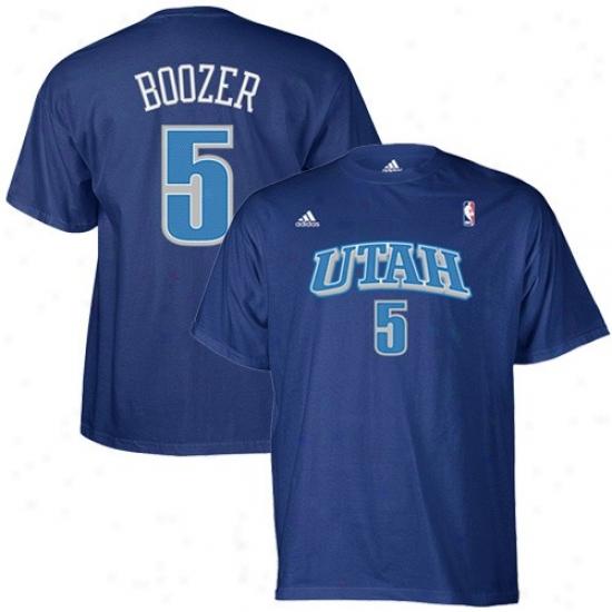 Utah Jazz Tees : Adidas Utah Jazz #5 Carlos Boozer Blue Net Players Tees