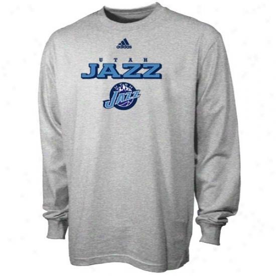 Utah Jazz Tees : Adidas Utah Jazz Ash True Court Long Sleeve Tees