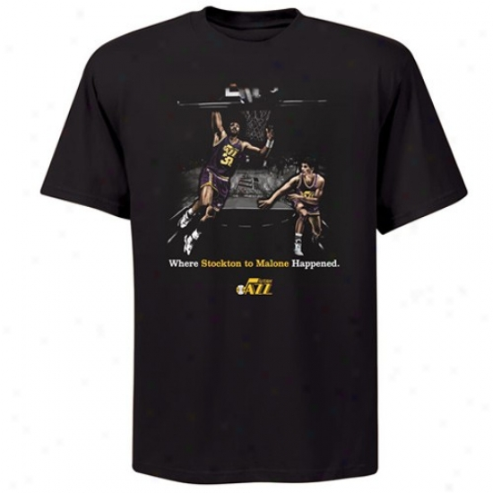 Utah Jazz Tees : Majestic Utah Jazz #32 Karl Malone Black Where Amazing Happens Tees