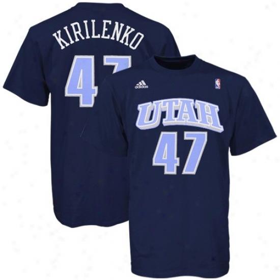 Utah Jazz Tshirts : Adidas Utah Jazz #47 Andrei Kirilenko Navy Blue Player Tshirts