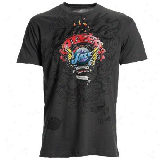 Utah Jazz Tshirts : Adidas Utah Jazz Charcoal Flame Thrower Premium Tshirts