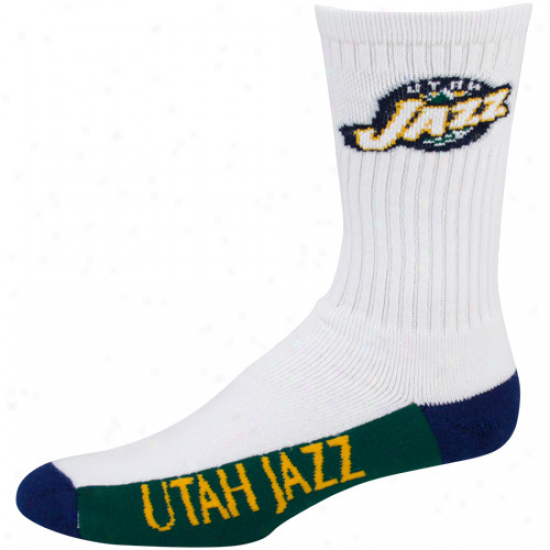 Utah Jazz White Tri-color Team Logo Tall Socks