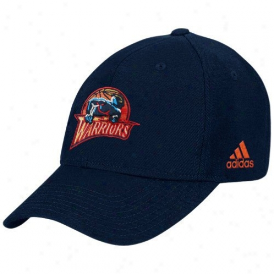 Warriors Merchandise: Adidas Warriors Navy Blue Basic Logo Wool Adjustable Hat