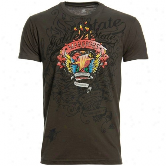 Warriors Shhirt : Adidas Warriors Charcoal Flame Thrower Premium Shirt