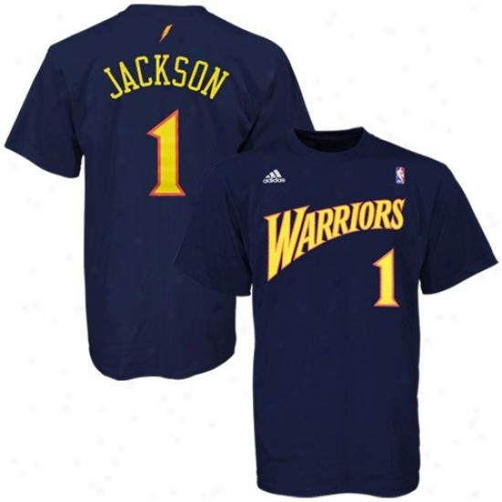 Warriors T-shirt : Adidas Warriors #1 Stephen Jackson Navy Blue Idler T-shirt