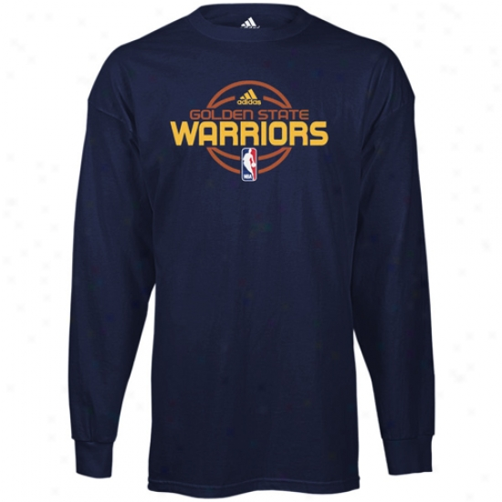 Warriors Tees : Adidas Warriors Navy Blue Team Issue Long Sleeve Tees