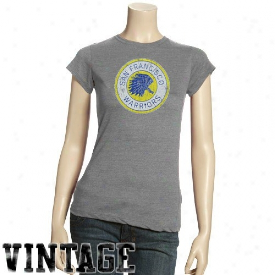 Warriors Tshirts : Warriors Ladies Dark Ash Basic Throwback Logo Triblend Tshirts