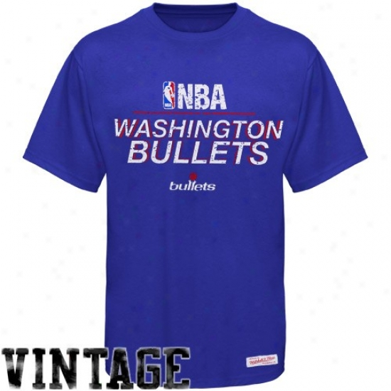 Washington Wizard Attire: Mitchell & Ness Washington Bullets Royal Blue Media Guide Vintage T-shirt