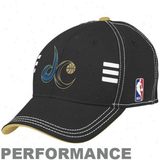 Washington Wizard Caps : Adidas Washington Wizard Black Official Draft Day Performance Stretch Fit Caps