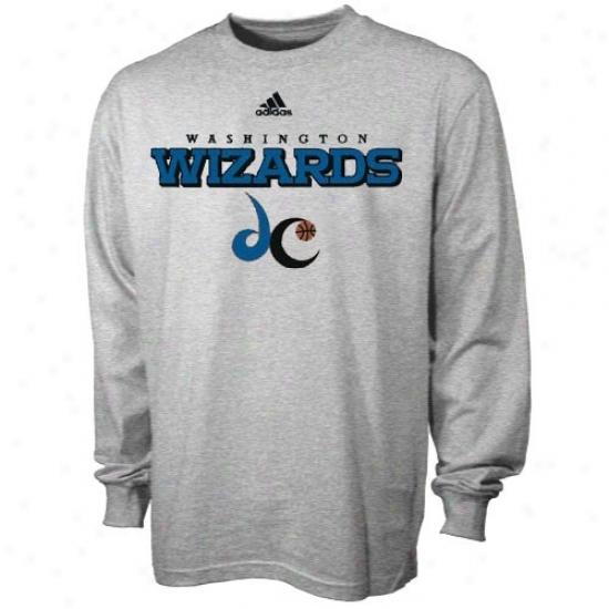Washington Wizard Shirts : Adidas Washington Wizard Ash True Long Sleeve Shirts