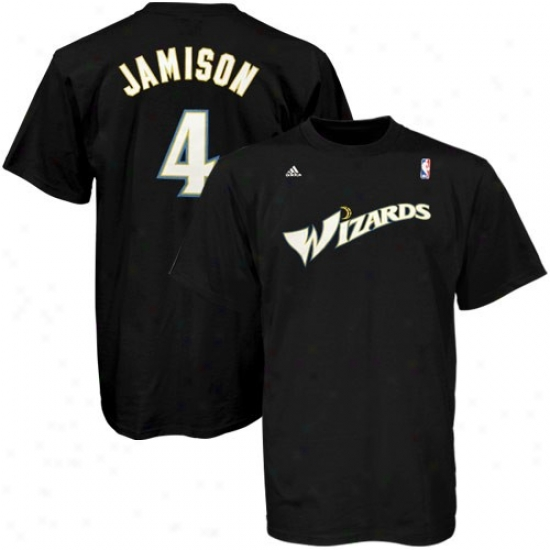 Washington Wizard Tee : Adidas Washingtoh Wizard #4 Antawn Jamison Black Pure Player Tee