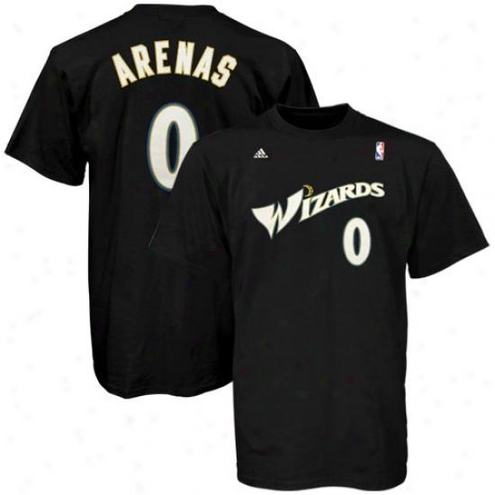 Washington Wizard Tshirt : Adidas Washington Wizard #0 Gilbert Arenas Black Net Player Tshirt