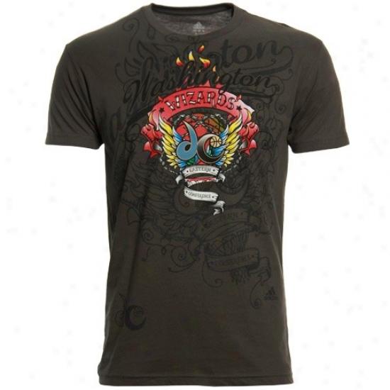 Washington Wizards Apparel: Adidas Washinton Wizards Charcoal Flame Thrower Premjum T-shirt