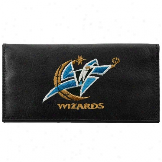 Washington Wizards Black Leather Embroideded Checkbok Cover