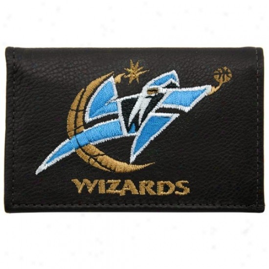 Washington Wizards Black Leather Embroidered Tri-fold Wallet