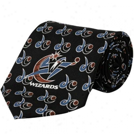 Washington Wizards Negro Logo Print Silk Neck Tie
