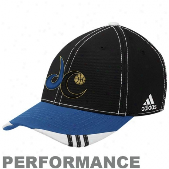 Washington Wizards Gear: Adidas Washington Wizards Black-blue Official On Court Playing Flex Fit Hat
