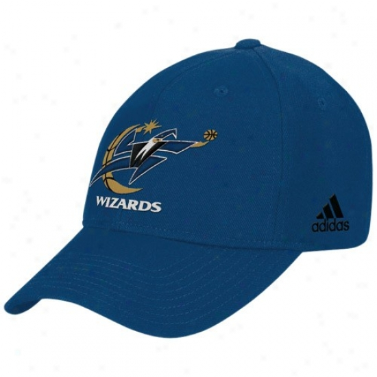 Washington Wjzards Hat : Adidas Washington Wizards Pedantic  Basic Logo Adjustable Wool Hat