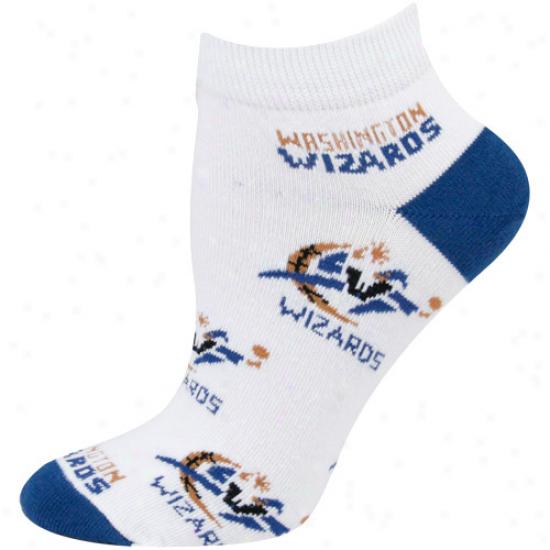 Washington Wizads Ladise White All Over Team Logo Ankle Socks