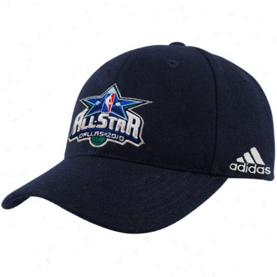 Washington Wizards Merchandise: Adidas 2010 Nba All-star Game Navy Azure Official Logo Flex Fit Hat
