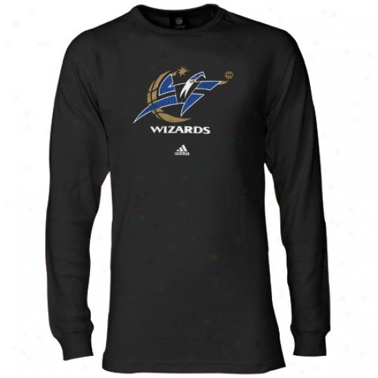 Washington Wizards  TShirt : Adidas Washington Wizards Black Basic Loo Long Sleeve Warm T Shirt