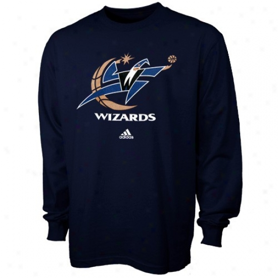 Washington Wizards Tees : Adidas Washingto Wizards Youth Navy Blue Full Primary Logo Long Sleeve Tees