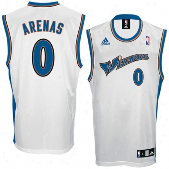 Wizards Jersey : Adidas Wizards #0 Gilbert Arenas White Replica Basketball Jersey