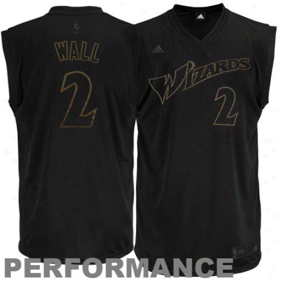 Wizards Jerseys : Adidas John Wall Wizards New Replica Performance Jersey-black-on-black