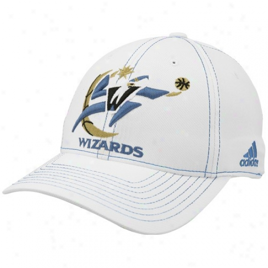 Wizards Merchandise: Adidas Wizards White Team Logo Structured Flex-fit Hat