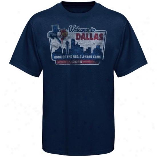 Wizards T-shirt : Sportiqe 2010 Nba All-star Game Navy Blue Dallas Billboard Distressed T-shirt