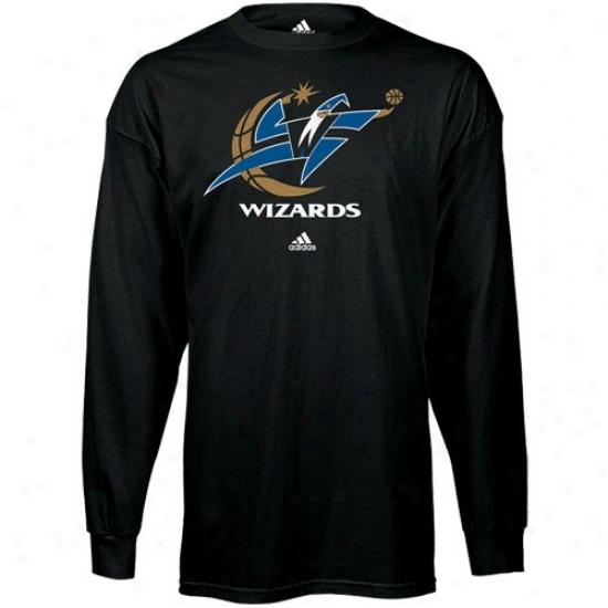 Wizatds Tshirt : Adidas Wizards Black Primary Logo Long Sleeve Tshirt