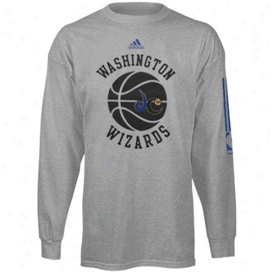 Wizards Tshirt : Adodas Wizards Yputh Ash True Mesh Ball Long Sleeve Tshirt